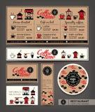 Sklep z kawą kawiarni menu projekta ustalony szablon Fotografia Stock