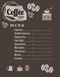 Sklep Z Kawą menu Fotografia Stock