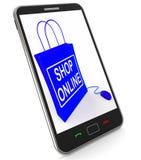 Sklepowa Online torba Pokazuje Internetowego zakupy i kupienie royalty ilustracja