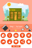 Sklepowe i płaskie ikony dla handlu elektronicznego Książkowego sklepu Zdjęcia Stock