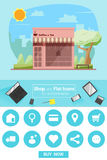 Sklepowe i płaskie ikony dla handlu elektronicznego sklep z kawą Obrazy Royalty Free