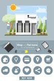 Sklepowe i płaskie ikony dla handel elektroniczny restauraci Fotografia Royalty Free