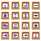 Sklepowe ikony ustawiać nawigacj foods purpury ilustracja wektor