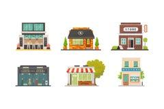 Sklepowe sklepów budynków wektorowe ilustracje ustawiać Targowa powierzchowność, restauracja i kawiarnia, Jarzynowy sklep, apteka ilustracji
