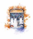 Sklepowy okno z białymi lato sukniami Zdjęcie Royalty Free