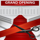 Sklepowy uroczysty otwarcie - ciąć czerwonego faborek Wektor, EPS 10 Fotografia Stock