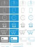 Sklepu E-comerce ikony set Zdjęcia Royalty Free