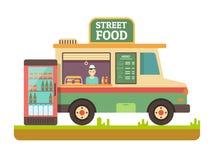 Sklepu fasta food samochód dostawczy royalty ilustracja