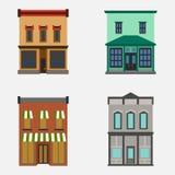 Sklepu frontowego okno sklepowi budynki barwią ikona set Zdjęcie Royalty Free