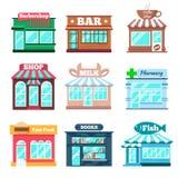 Sklepu i sklepowych budynków płaskie ikony ustawiać Obrazy Royalty Free
