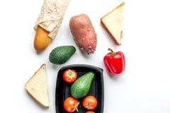 Sklepu pojęcie z warzywami i chleba tła odgórnego widoku stołowym mockup Zdjęcia Stock
