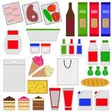 Sklepu spożywczego mieszkania ikony Obrazy Stock