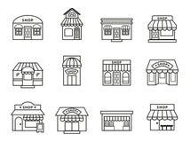 Sklepy i prowiantowego budynku ikony ustawiać ilustracji
