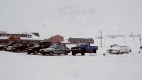 Sklepy w głównej ulicie w arktycznym grodzkim Longyear zdjęcie wideo