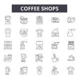 Sklepy z kawą wykładają ikony, znaki, wektoru set, liniowy pojęcie, kontur ilustracja ilustracja wektor