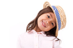 Skämtsamt gulligt, lyckligt och att le den kvinnliga asiatiska caucasian flickan Arkivbilder