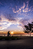 Skönhet och soluppgången på det sceniska landskapet av Songkhla Royaltyfri Fotografi