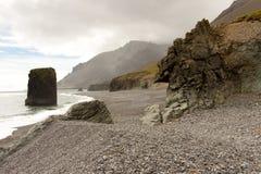 Skönhet stenig kustlinje - Hvalnes område - Island Arkivfoton