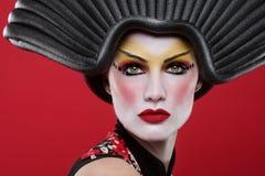 Skönhetbegrepp av en Geisha Girl Royaltyfria Bilder