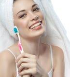 skönhetframdelen gör spegellokal upp kvinnabarn Fotografering för Bildbyråer