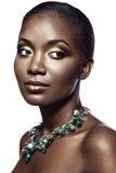 Skönhetstående av den stiliga etniska afrikanska flickan som isoleras på whi Royaltyfria Foton