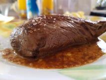 Skończony wołowina stek fotografia stock