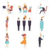 Skołowani zmęczeni ludzie z płonącymi mózg ustawiają, emocjonalny burnout pojęcie, stres, migrena, depresja, psychologiczna royalty ilustracja