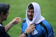 Skołowany rugby gracz zdjęcia stock