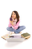 skończył się jej pracy domowej makijażu kobiet young Zdjęcie Stock