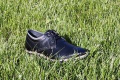 Sko i gräset Arkivbild