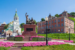Skoba Square in Nizhny Novgorod. In the foreground - Minin and P. Ozharsky Monument and former Bugrov homeless shelter (now the office of the Federal Migration Royalty Free Stock Images