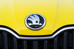 Free Skoda Auto Automobile Manufacturer From Volkswagen Group Company Logo On Yellow Dirty Car Stock Photo - 113383440