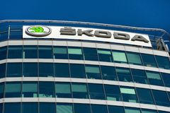 Skoda Auto automobile manufacturer from Volkswagen Group company logo on headquarters building Stock Photography