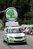 Skoda car. Beost,France,July 15th 2011: Skoda car during the passing of the advertising caravan on the category H climbing route to mountain pass Abisque in the Stock Photo
