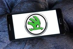 Skoda car logo. Logo of skoda car brand on samsung mobile phone a5 royalty free stock image