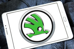 Skoda car logo. Logo of Skoda car brand on samsung tablet Royalty Free Stock Photo