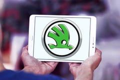 Skoda car logo. Logo of Skoda car brand on samsung tablet Royalty Free Stock Photos
