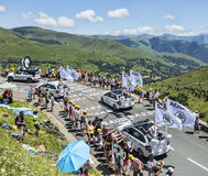 Skoda Caravan. Col de Peyresourde,France- July 23, 2014: Skoda caravan on the road to Col de Peyresourde in Pyrenees Mountains in front of excited spectators royalty free stock photo