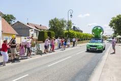 Skoda Caravan - Tour de France 2015. Sainte Marguerite sur Mer, France - July 09, 2015: The Skoda Caravan during the passing of Publicity Caravan before the stock photography