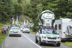 The Skoda Convoy During Le Tour de France 2014 Stock Images