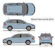 Skoda Fabia Combi 2015. Detailed drawing for branding, scale 1:10 Royalty Free Stock Photos