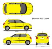 Skoda Fabia Hatchback 2009. Detailed drawing for branding, scale 1:10 Royalty Free Stock Photo