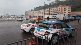 Skoda Fabia R5 en Peugeot 208 Verzamelingsauto's - Rallye Monte Carlo 2 royalty-vrije stock fotografie