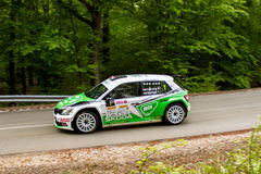 Skoda Fabia R5 on Miskolc Rally Hungary. 2016 Herczig Norbert Bacigal Igor Royalty Free Stock Photo