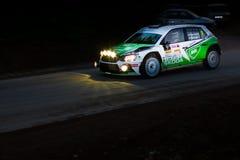 Skoda Fabia R5 on Miskolc Rally Hungary. 2016 Herczig Norbert Bacigal Igor Royalty Free Stock Photography