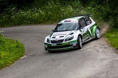 Skoda Fabia S2000. MLADA BOLESLAV, CZECH REP. - JULY 13 : Winners of Rally Bohemia Driver Kopecky J. and co driver Dresler P. in Skoda Fabia S2000 at speed stage Stock Images