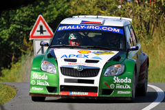 Skoda Fabia S2000 at Barum rally. ZLIN, CZECH REP. - AUGUST 23, Driver Kopecky Jan(winner) and co-driver Stary Petr in car Skoda Fabia S2000 at speed stage no.10 Stock Photography