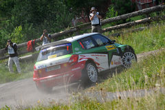 Skoda Fabia S2000 Barum Rally. ZLIN, CZECH REP. - AUGUST 23, Driver Juho HANNINEN and co driver Mikko MARKKULA in car Skoda Fabia S2000 at speed stage no.13 Royalty Free Stock Image