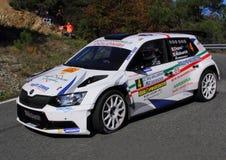 Skoda Fabia WRC durante a lanterna da reunião de 32 ° Imagens de Stock