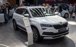 Skoda Karoq Scaut bij de internationale de auto en de motorshow van 54ste Belgrado stock afbeeldingen